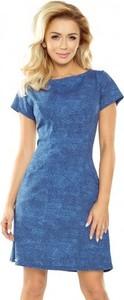 Niebieska sukienka NUMOCO z okrągłym dekoltem trapezowa z krótkim rękawem