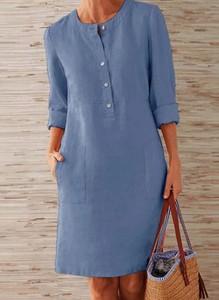 Niebieska sukienka Arilook z długim rękawem w stylu casual mini