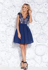 Niebieska sukienka E-sukienki.pl mini z dekoltem w kształcie litery v z tiulu