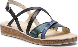 Granatowe sandały Ann-Mex na koturnie ze skóry z klamrami