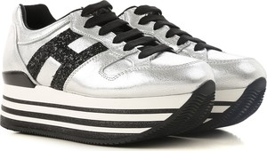 Srebrne buty sportowe Hogan na platformie ze skóry