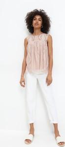 Różowa bluzka Mohito z okrągłym dekoltem