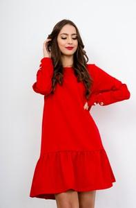 Czerwona sukienka ZOiO.pl z długim rękawem mini w stylu casual