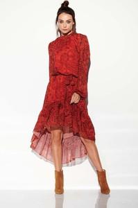 Czerwona sukienka Coco Style z długim rękawem w stylu casual