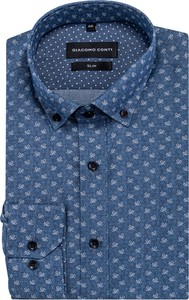 Niebieska koszula Giacomo Conti w młodzieżowym stylu z kołnierzykiem button down z tkaniny