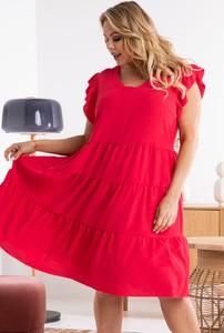 Czerwona sukienka KARKO z tkaniny w stylu casual oversize