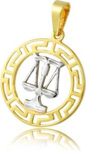 """Hosa Złota zawieszka znak zodiaku, wzór grecki """"Waga"""" (łączone złoto) (próba 333)"""