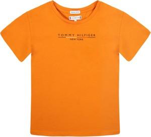 Pomarańczowa koszulka dziecięca Tommy Hilfiger z krótkim rękawem