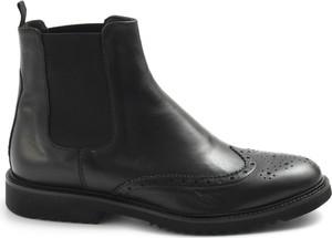 Czarne buty zimowe Sangiorgio ze skóry