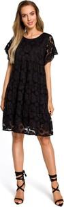 Czarna sukienka MOE z krótkim rękawem z okrągłym dekoltem