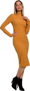 Brązowa sukienka MOE dopasowana z długim rękawem