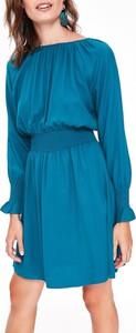 Turkusowa sukienka Top Secret z długim rękawem