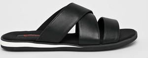 Czarne buty letnie męskie Conhpol ze skóry
