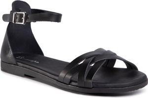 Czarne sandały eobuwie.pl w stylu casual z płaską podeszwą