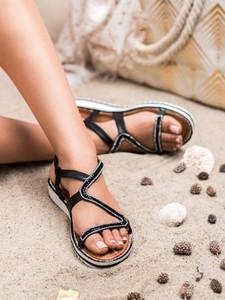 Czarne sandały Czasnabuty w stylu casual na platformie