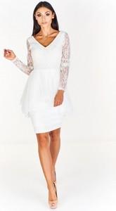 Sukienka Betty M z długim rękawem midi asymetryczna