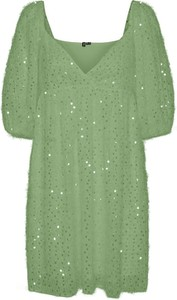 Zielona sukienka Vero Moda z dekoltem w kształcie litery v w stylu casual