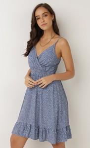 Sukienka born2be mini na ramiączkach z dekoltem w kształcie litery v