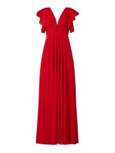 Czerwona sukienka Troyden Collection maxi z krótkim rękawem z dekoltem w kształcie litery v