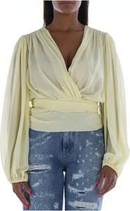 Żółta bluzka Dolce & Gabbana z długim rękawem z dekoltem w kształcie litery v w stylu casual