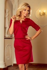 Czerwona sukienka NUMOCO z kołnierzykiem mini