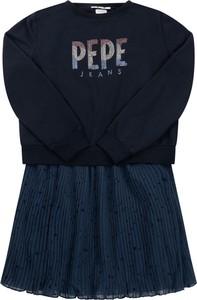 Granatowa sukienka dziewczęca Pepe Jeans