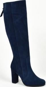 Niebieskie kozaki Margoshoes z zamszu na zamek przed kolano