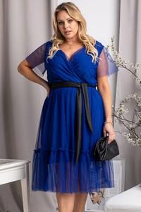 Sukienka KARKO z tkaniny z krótkim rękawem midi