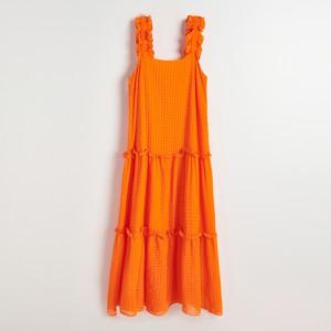 Pomarańczowa sukienka Reserved z tkaniny maxi bez rękawów