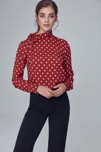 Czerwona bluzka Nife ze sznurowanym dekoltem z długim rękawem