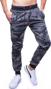 Niebieskie spodnie sportowe Recea z dresówki w militarnym stylu