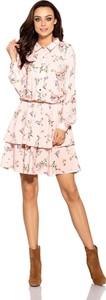 Różowa sukienka issysklep.pl koszulowa z długim rękawem