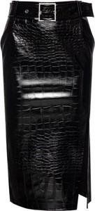 Czarna spódnica Pinko midi ze skóry