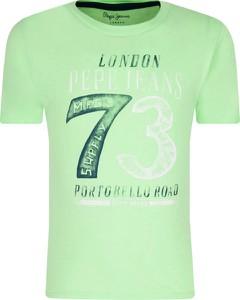 Zielona koszulka dziecięca Pepe Jeans z krótkim rękawem