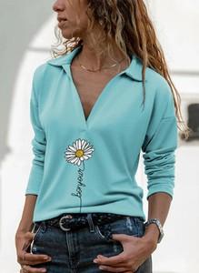 Niebieska bluzka Sandbella z długim rękawem z kołnierzykiem