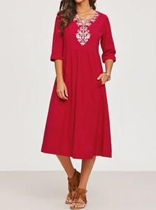 Czerwona sukienka Cikelly midi z dekoltem w kształcie litery v