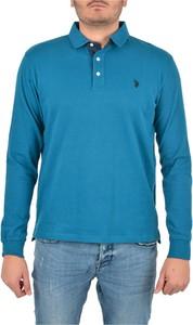 Niebieska koszulka z długim rękawem U.S. Polo z długim rękawem w stylu casual