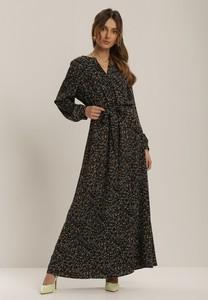 Sukienka Renee z długim rękawem z dekoltem w kształcie litery v maxi