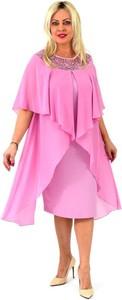 Sukienka Roxana - sukienki dla puszystych midi z okrągłym dekoltem