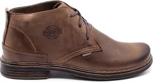 Brązowe buty zimowe Polbut ze skóry w stylu casual sznurowane