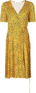 Zielona sukienka Dvf Diane Von Furstenberg z krótkim rękawem z dekoltem w kształcie litery v