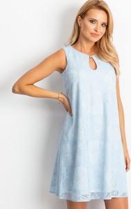 Niebieska sukienka Sheandher.pl mini z okrągłym dekoltem bez rękawów