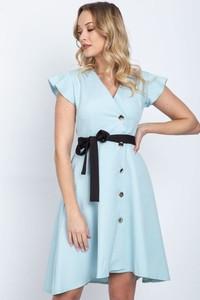 Miętowa sukienka Royalfashion.pl z dekoltem w kształcie litery v w stylu casual