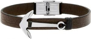 Manoki BA597MK skórzana bransoletka męska ze srebrną kotwicą, ciemny brąz