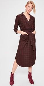 Sukienka Trendyol kopertowa midi z dekoltem w kształcie litery v