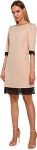 Sukienka Merg trapezowa mini z długim rękawem