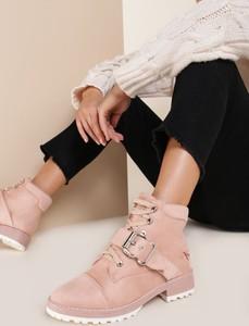 Różowe botki renee w stylu casual z płaską podeszwą