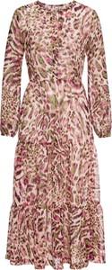 Sukienka bonprix BODYFLIRT z długim rękawem z okrągłym dekoltem midi