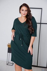 Sukienka tono.sklep.pl z długim rękawem z dekoltem w kształcie litery v prosta