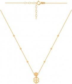 Lovrin Złoty naszyjnik 585 z przewleczonymi kuleczkami i doczepionym kółeczkiem i koniczynką